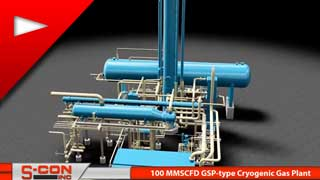 3-D Model of 100 MMSCFD, GSP-type Cryogenic Gas Plant with Mol Sieve System
